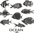 Horizontal,Cut Out,Silhouette,No People,Reef,Tropical Climate,Animal,Cute,Sea,Undersea,Cartoon,Collection,Aquatic,Illustration,Image,Symbol,Underwater,Vector,Fish,White Color,Black Color