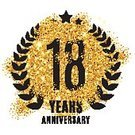 18-19 Years,Square,Anniversary,Illustration,Symbol,Glitter,Insignia,Event,Star Shape,Vector,Shiny,Label,Badge