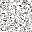 Square,Celebration,Background,Domestic Cat,Illustration,Human Bone,Autumn,Seamless Pattern,Forest,Backgrounds,Halloween,Cemetery,Bat - Animal
