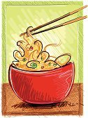 Noodles,Chinese Cuisine,Food,Chopsticks,Thai Culture,Drawing - Art Product,Asian Ethnicity,East Asian Culture,Ilustration,Vegetable,Incomplete,Red,Heat - Temperature,Green Color,Restaurant,Bowl,Snack,Pea Family,Foods and Drinks,Cellophane Noodles,Essen,Healthy Eating,Ready-To-Eat,Menu,Cooking