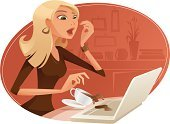 Women,Cartoon,Computer,Teenage Girls,Office Interior,Laptop,Vector,Blond Hair,Coffee - Drink,Working,Surprise,Careless,Businesswoman,Frustration,Spilling,Female,Domestic Room,Characters,Broken,Stereotypical Housewife,Accident,Ilustration,Teenager,Modern,Beauty,Cup,Facial Expression,Damaged,Breaking,Beautiful,Lifestyles,Cute,Young Adult,Portrait,Indoors,Clip Art,Ruined,Red,Table,Femininity,Disappointment,interrupted,Motion,Brown,Adversity,Beige,Earring,Modern Life,Frustration,Concepts And Ideas,Vector Cartoons,Illustrations And Vector Art