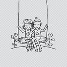 Child,Square,Romance,Girls,Females,Boys,Males,Flower,Cut,Sketch,Day,Swinging,Love,Doodle,Cute,Painted Image,Remote,Cartoon,Illustration,People,Cutting,Valentine Card,Couple - Relationship,Heart Shape,Clip Art,Transparent,Dating,Giving