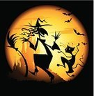 Halloween,Witch,Dancing,Silhouette,Bat - Animal,Moon,Autumn,House,Vector,Ilustration,Fun,Black Color,Hat,Holiday,Flying,Castle,Broom,Composition,Night,Glowing,October,Halloween,Holidays And Celebrations,Dark,Wallpaper Pattern,Illustrations And Vector Art,Holiday Backgrounds,Vector Backgrounds