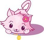 Domestic Cat,Cute,Pink Color,Femininity,Little Girls,Rose - Flower,Tail,Medal,Cats,Animals And Pets