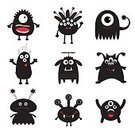 Square,Cut Out,Characters,No People,Background,Animal,Collection,Illustration,Backgrounds,Halloween,Vector,Monster - Fictional Character,Black Color