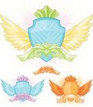 Badge,Shield,swirly,Scroll Shape,Placard,Ornate,Striped,Design,Computer Graphic,Coat Of Arms,Shiny,Artificial Wing,Vector,Vibrant Color,Banner,Copy Space,Vector Ornaments,Vector Icons,Illustrations And Vector Art,Isolated Objects,Your Text Here,Design Element,Multi Colored,Ilustration