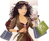 Shopping,Women,Fashion,Retail,Purse,Mobile Phone,Sunglasses,Ilustration,Coffee - Drink,One Woman Only,Clip Art,Coat,Shopping Bag,Fashion,People,Beauty And Health