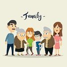 Child,Adult,Square,Togetherness,Humor,Females,Boys,Men,Women,Grandmother,Love,Cute,Cheerful,Mother,Sister,Illustration,People,Wife,Husband,Family,Grandchild,Parent,Daughter,Large,Grandfather,Large,Grandparent,Father,Fun,Vector,Embracing,Clothing