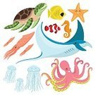 Square,Characters,Sign,Fish,Stingray,Animal Wildlife,Cute,Sea,Undersea,Cartoon,Cheerful,Animal Themes,Animals In The Wild,Orthographic Symbol,Illustration,Nature,Icon Set,Jellyfish,Squid,Flat,Isolated,Starfish,Underwater,Sea Horse,Octopus,Sea Life,Vector,Turtle,Fish