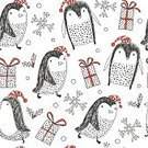 Square,No People,Computer Graphics,Animal,Cute,Ornate,Christmas,Illustration,Nature,Penguin,Animal Markings,Backdrop,Winter,Computer Graphic,Seamless Pattern,Bird,Decoration,Season,Backgrounds,Snow,Decor,Vector,Blue,Greeting,Pattern,Textile
