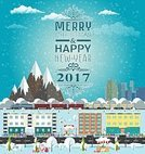 60595,Vertical,Humor,No People,Greeting Card,Christmas,City,Illustration,Winter,Snow,Vector