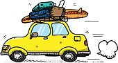 Horizontal,Motion,Art And Craft,Sketch,Art,Driving,Doodle,Commuter,Holiday - Event,Car,Cartoon,Illustration,Weekend Activities,Transportation,Travel,Vector,Drawing - Art Product,Luggage,Vacations