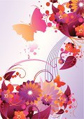 Vector,Pink Color,Butterfly - Insect,Flower,Single Flower,Backgrounds,Swirl,Funky,Abstract,Vitality,Ilustration,Design,Magenta,Yellow,Vibrant Color,Nature,Ornate,Shiny,flourishes,Decoration,Tranquil Scene,Curve,Curled Up,Blossom,Splattered,Leaf,Nature,Nature Backgrounds,Nature Abstract,Illustrations And Vector Art,Vector Florals,Branch,Concepts,Lush Foliage,No People,Copy Space