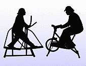 Exercising,Instructor,Overweight,Weight,Too Big,Relaxation Exercise,Sports Training,Silhouette,Bicycle,Stationary,Vector,Sweat,Unhealthy Eating,Dedication,Illustrations And Vector Art,Computer Software,Back Lit,Skiing