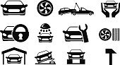 Car,Auto Repair Shop,Symbol,Repairing,Insurance,Computer Icon,Service,Icon Set,Black Color,Protection,Vector,White,Wheel,Transportation