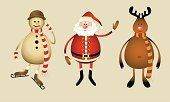 Reindeer,Santa Claus,Christmas,Antler,Rudolph The Red-nosed Reindeer,Snowman,Characters,Vector,Symbol,Animal,Humor,Set,Cute,Cartoon,Celebration,Red,Holiday,Ilustration,Isolated,Cheerful,Christmas,Painted Image,Vector Cartoons,Holidays And Celebrations,Objects with Clipping Paths,Isolated Objects,Image,Illustrations And Vector Art