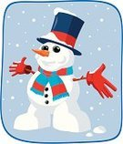 Snowman,Glove,Scarf,Snow,Winter,Ilustration,Celebration,Snowing,Cartoon,Illustrations And Vector Art,Christmas,Cute,Vector,Arms Outstretched,Cold - Termperature,Christmas,Holidays And Celebrations,Vector Cartoons,Characters,Carrot,Top Hat,Loving,Smiling