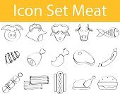 Horizontal,Burger,Steak,Animal,Illustration,Icon Set,Food,Drawing - Activity,Vector,Meat,Scribble
