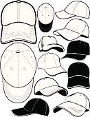 Cap,Baseball Cap,Hat,Vector,Sports Clothing,Line Art,Icon Set,Ilustration,Clip Art,Black And White,Collection,Multiple Image,Vector Icons,Sports Symbols/Metaphors,Illustrations And Vector Art,Sports And Fitness,Objects/Equipment