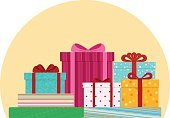Horizontal,No People,Holiday - Event,Surprise,Box - Container,Illustration,Computer Icon,Ribbon - Sewing Item,Wrapping Paper,Gift,Tied Bow,Gift Box,Vector
