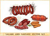 Meat Food,Salami Slices,Close-up,Horizontal,Cut Out,No People,Gourmet,Pork,Breakfast,Beef,Meal,Picnic,Sausage,Illustration,Food,Snack,Cooked,Vector,Grilled,Barbecue Grill,Lunch,Meat