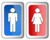 Restroom Sign,Symbol,Female,Male,Computer Icon,Public Restroom,Sign,Men,Women,Red,Interface Icons,Placard,Shiny,Glass - Material,Blue,Banner