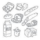 Food,Cheese,Bread,Sketch,Symbol,Butter,Ham,Milk,Groceries,Drawing - Art Product,Yogurt,Eggs,Ilustration,Outline,Black And White,Pencil Drawing,Computer Graphic,Design,Design Element,Digitally Generated Image,Rough,Isolated,Part Of,Modern,Set