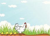 Chicken - Bird,Farm,Cartoon,Baby Chicken,Young Bird,Animal,Grass,Rural Scene,Cloud - Sky,Sun,Backgrounds,Vector,Family,Nature,Non-Urban Scene,Mother,Ilustration,Cute,Sky,Bird,Communication,Walking,Cheerful,Happiness,Blue,Positive Emotion,Friendship,Season,Livestock,Animals And Pets,Nature,Characters,Animal Backgrounds,Message,Copy Space,Farm Animals,Smiling,Summer