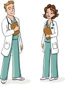 Doctor,Men,Healthcare And Medicine,Vector,Medical Occupation,Ilustration,Female,Scrubs,Expertise,Drawing - Art Product,Male Beauty,Clipboard,Lab Coat,Professional Occupation,Male,Smiling,Brown Hair,Caucasian Ethnicity,Personnel,Illustrations And Vector Art,Vector Cartoons,family doctor,Stethoscope,Medical,Trust,Blond Hair,Medicine And Science
