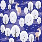 Square,No People,Background,Deer,Animal,Christmas,Animals In The Wild,Snowflake,Illustration,Image,Animal Markings,Winter,Seamless Pattern,Bird,Forest,Backgrounds,Snow,Tree,Pattern