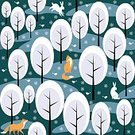 Square,No People,Background,Fox,Animal,Christmas,Animal Themes,Animals In The Wild,Snowflake,Illustration,Image,Animal Markings,Rabbit - Animal,Winter,Seamless Pattern,Bird,Forest,Backgrounds,Snow,Hare,Tree,Pattern