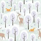 Square,No People,Background,Fox,Deer,Animal,Christmas,Animal Themes,Animals In The Wild,Snowflake,Illustration,Image,Animal Markings,Rabbit - Animal,Winter,Seamless Pattern,Bird,Forest,Backgrounds,Snow,Hare,Tree,Pattern