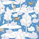 Square,No People,Squirrel,Background,Fox,Deer,Animal,Christmas,Animal Themes,Animals In The Wild,Snowflake,Illustration,Image,Animal Markings,Rabbit - Animal,Winter,Seamless Pattern,Bird,Forest,Backgrounds,Snow,Hare,Tree,Pattern