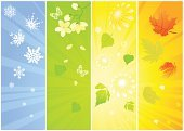 Four Seasons,Season,Springtime,Summer,Banner,Winter,Autumn,Backgrounds,Symbol,Weather,Leaf,Green Color,Flower,Ilustration,Maple,Colors,Vector,Sunlight,Light - Natural Phenomenon,Blue,Yellow,Design,Cold - Termperature,Illustrations And Vector Art,Nature,Orange Color,Vector Backgrounds,Nature Backgrounds,Nature Abstract,White