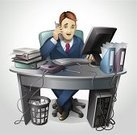 Office Interior,Men,Telephone,Computer,Business,Busy,Office Chair,On The Phone,Businessman,Chair,Working,PC,Professional Occupation,Place of Work,Marketing,Document,One Person,Illustrations And Vector Art,Business,Business People,Mid Adult Men,Job - Religious Figure,Gray