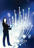 Fiber Optic,Cable,Global Communications,Businesswoman,Silhouette,Backgrounds,Laptop,Glowing,Computer,Lens Flare,Back Lit,Light - Natural Phenomenon,Isolated,Ideas,Concepts,Communication,Digitally Generated Image,Suit,Business,Business People,Concepts And Ideas,Shiny,Bright,Vibrant Color,Brightly Lit,Vector,Female,Ilustration,Blue