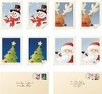 Christmas,Santa Claus,Postage Stamp,Letter,Mail,Rudolph The Red-nosed Reindeer,Envelope,Snowman,Tree,Postmark,Christmas Tree,Christmas,Holidays And Celebrations,Curled Up,Illustrations And Vector Art