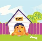 Kennel,In The Dog House,Dog,Cartoon,Pets,Symbol,Sleeping,Vector,Home Interior,Animal,Small,Ilustration,Humor,Food,Cute,Laziness,Fence,Puppy,Dog Bone,Nature,Green Color,Tree,Computer Graphic,Roof,Label,Resting,Baby Animals,Outdoors,caption,Mammal,Dogs,Blue,Illustrations And Vector Art,Animals And Pets,Grass,White,Care,Isolated,Yellow,Pink Color,Brown,Playful,Canine
