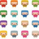 Characters,Cute,Emoticon,Symbol,Icon Set,Cheerful,Smiley Face,Happiness,Simplicity,Sadness,Sparse,Facial Expression,Set,Small,Dizzy,Tired,Multi Colored,critter