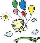 Birthday,Cartoon,Baby,Little Boys,Balloon,Child,Flower,Happiness,Small,Freedom,Vector,Ilustration,Smiling,Childhood,Laughing,Fun,Mid-Air,Bunch,Cloud - Sky