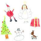 Child,Christmas,Drawing - Art Product,Ilustration,Child's Drawing,Angel,Tree,Crayon,Santa Claus,Snowman,Gift,Sketch,Winter,Reindeer,Christmas Tree,Christmas Present,Decoration,Hat,Star Shape,Santa Hat,White Background,Smiling,Holidays And Celebrations,Ornate,Halo