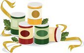 Canned Food,Can,Food,Christmas,Holiday,Soup,Tin,Groceries,Sauces,Food Drive,Stack,Vegetable,Ribbon,Ilustration,Nutrition Label,Silver Colored,Collection,Holly,Vector,Food Staple,Label,Food And Drink,Red,Fruit,Clip Art,Beige,Horizontal,Angle,Isolated,Ingredient,Vector Ornaments,Orange Color,Green Color,Gold Colored,Illustrations And Vector Art,Metal