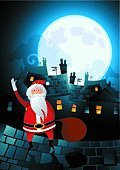 Christmas,Chimney,Santa Claus,House,Urban Scene,Landscape,Roof,Cityscape,Concepts,City,Cute,Symbols Of Peace,Winter,Waving,Night,Moon,Vector,Cloud - Sky,Cheerful,Christmas,Copy Space,Gift,Holidays And Celebrations,Ilustration,Tranquil Scene,Happiness,December,Giving,Design,Vector Cartoons,Season,Holiday Symbols,Illustrations And Vector Art