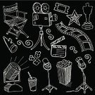 Doodle,Movie Camera,Film Industry,Spotlight,Director's Chair,Film Slate,Popcorn,Film Reel,Camera Film,Ticket,Megaphone,Vector,Ilustration,Star Shape,Drawing - Art Product,Trophy,Award,Drink,Soda,Arrangement,Black And White,Collection,Set,Group of Objects,Multiple Image