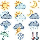 Weather,Symbol,Computer Icon,Sun,Moon,Drawing - Art Product,Cloud - Sky,Thermometer,Rain,Thunderstorm,Snow,Umbrella,Tornado,Ilustration,Hand-drawn,Vector Icons,Nature Symbols/Metaphors,Nature,Illustrations And Vector Art