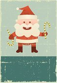 Santa Claus,Old-fashioned,Christmas,Grunge,Old,Holiday,Cartoon,Characters,Poster,Vector,Sign,Banner,Cheerful,Happiness,Distressed,Candy Cane,Standing,Ilustration,Holidays And Celebrations,Christmas,Illustrations And Vector Art,Vector Cartoons,Copy Space,Smiling,Damaged