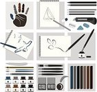 Craft,Art,Painting,Sketch Pad,Artist,Computer Graphic,Material,Paintings,Paintbrush,Equipment,Human Hand,Quill Pen,Education,Art Studio,Vector,Studio,Pen,Black Color,Chalk - Art Equipment,Ilustration,Sketch,Pencil,White,Chalk Drawing,Drawing - Art Product,Paint,Design,Ink,Set,Blue,Painter,Painted Image,Hobbies,Eraser,Nib,Drawing - Activity,Cutting,Colors,Single Object,Brown,Illustrations And Vector Art,Pencil Drawing,Arts And Entertainment,Gray,Objects/Equipment,Bamboo,Arrangement,Color Image,Collection