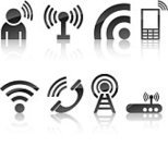 Wireless Technology,rss,Symbol,The Media,Computer Icon,Radio,Icon Set,Global Communications,Communication,Shiny,Telephone,Gray,Men,Vector,Set,Internet,Silver Colored,Reflection,Black Color,Collection,Vector Icons,Communications Technology,Ilustration,Technology,Illustrations And Vector Art