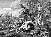 samaritan,Doctor,Old-fashioned,Antique,Charity and Relief Work,Engraved Image,History,Horse,UK,Old,British Culture,Ilustration,Outdoors,Assistance,Group Of People,Dog,English Culture,Image Created 18th Century,William Hogarth,18th Century Style,Period Costume,People,Illness,Allegory Painting,Social Issues,Caricature,Historical Clothing,Concepts And Ideas,Black And White,The Past,England,Medical,Small Group Of People,Social History,European Culture,Character Traits,Medicine And Science,Care,Europe,Horizontal