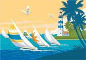 Sailboat,Lighthouse,Yacht,Sail,Spinnaker,Beach,Seagull,Nautical Vessel,Palm Tree,Sea,Lighting Equipment,Coastline,Sailing Ship,Beacon,Bird,Guidance,Surf,Mast,Water,Sports And Fitness,Transportation,Travel Locations,blue water,Tropical Climate,Water,Direction,Cloud - Sky,Sky,Beaches,Hull